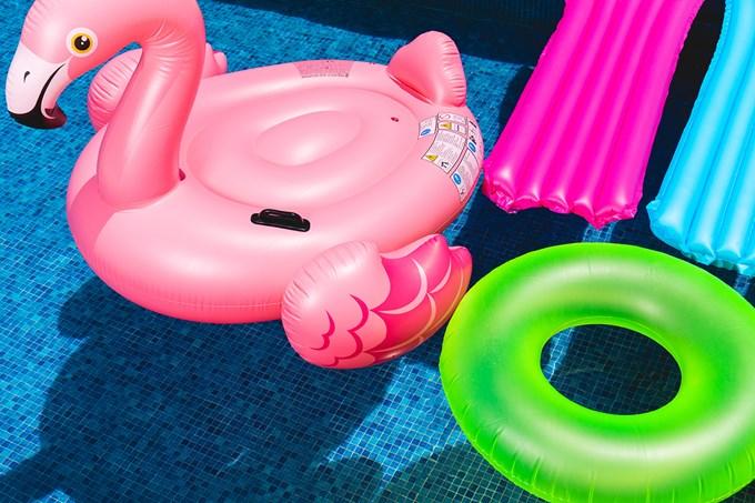 Badedyr, badering og flytemadrass i vann. Bilde