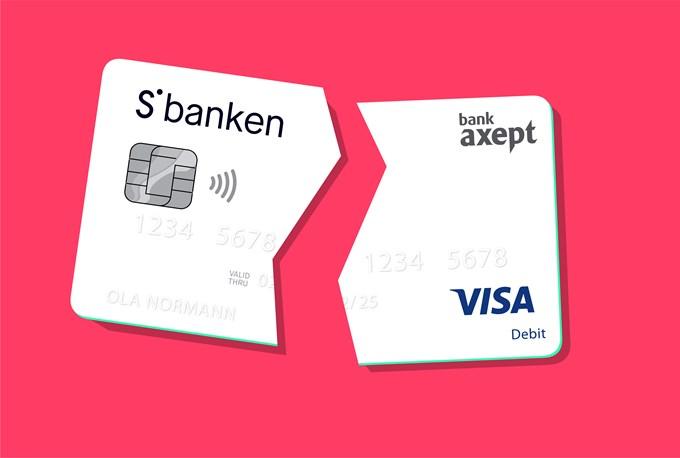 Bilde av bankkort som er delt i to
