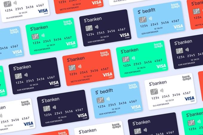 Foto av Sbanken sine bankkort.