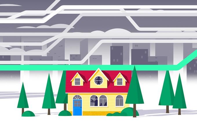 Illustrasjon av bolighus.