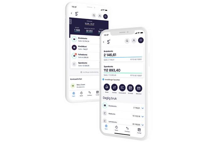 To iPhoner med skjermbilde fra Sbanken-appen
