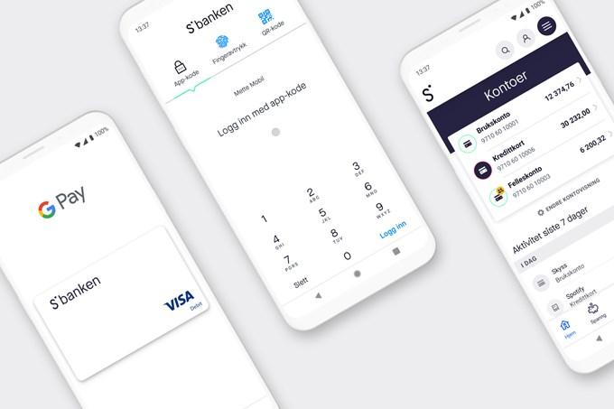 Skjermbilder som viser Google Pay, innloggingsvindu og startsiden | illustrasjon