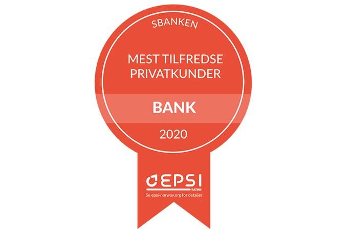 Norges mest fornøyde bankkunder. Vinner av EPSIs kåring for kundetilfredshet 2020. Grafikk