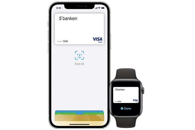 Skjermbilde av Apple Pay og bankkort fra Sbanken
